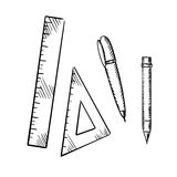 Pencil, pen, triangle and ruler sketch icons Stock Photography