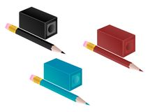 Pencil and pencil sharpener Stock Image