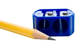 Pencil and pencil sharpener Royalty Free Stock Images