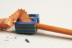 Pencil and pencil sharpener Royalty Free Stock Photography