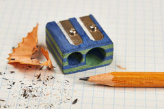 Pencil and pencil sharpener Stock Photo