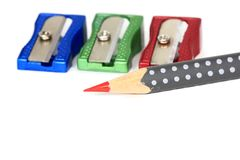 Pencil and pencil sharpeners Royalty Free Stock Images