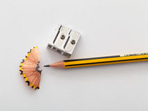 Pencil and pencil sharperner Stock Image