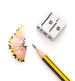 Pencil and pencil sharperner Royalty Free Stock Image