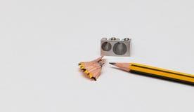 Pencil and pencil sharperner Stock Photos