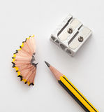 Pencil and pencil sharperner Stock Photography
