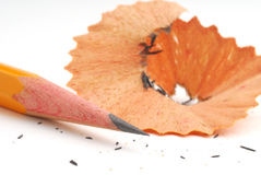 Pencil and pencil shavings royalty free stock image