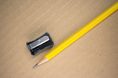 Pencil and penknife Royalty Free Stock Photos