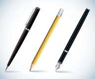 Pencil and pens royalty free illustration
