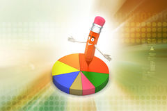 Pencil with pie chart Stock Image