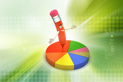 Pencil with pie chart Royalty Free Stock Photo