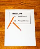 Pencil Pieces on Fake Ballot Stock Photography