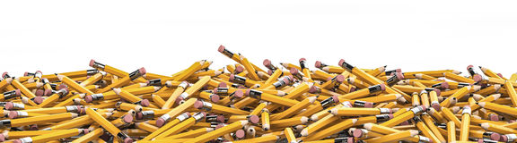 Pencil pile background. 3D render of hundreds of yellow pencils Stock Photo