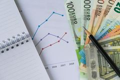 Pencil on pile of Euro banknotes with printed chart, graph and p Stock Photos