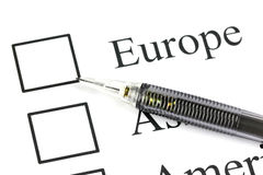 The pencil point to Checkbox in Europe text. Stock Images
