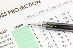 The pencil point to Trend text on business graph. Royalty Free Stock Photos