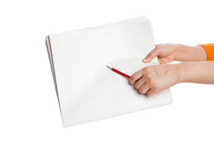 Pencil pointing Blank Newspaper Royalty Free Stock Images