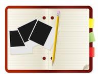 Pencil and polaroid card Stock Photo