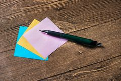 Pencil and post-it Stock Photos
