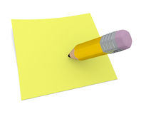 Pencil and postit Stock Photography
