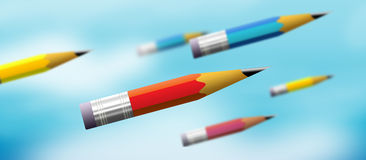 Pencil power. Pencil. flying pencils. creative pencil royalty free illustration