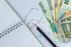 Pencil on printed chart, graph and paper note with pile of Euro Stock Photos