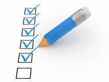 Pencil and questionnaire. 3d Royalty Free Stock Photo