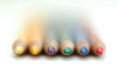 Pencil rainbow. Coloured pencils, sharpness on the tips stock image