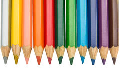 Pencil rainbow. Colored Pencils red blue green yellow orange Stock Photos