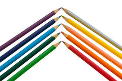 Pencil rainbow. Colored Pencils red blue green yellow orange Stock Photo