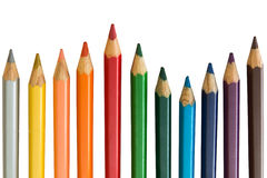 Pencil rainbow. Colored Pencils red blue green yellow orange royalty free stock images