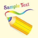 Pencil with rainbow lead on beige background. Yellow pencil with rainbow lead on beige background. Vector Stock Photography