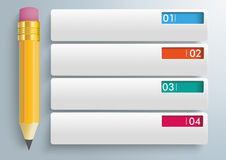 Pencil 4 Rectangle Banners Infographic Royalty Free Stock Images