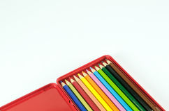 Pencil in red metal box isolated Royalty Free Stock Photography