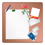 Pencil and Red Rose on A Blank Page with Envelope Royalty Free Stock Image