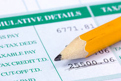 Pencil and report with monthly wage Royalty Free Stock Images