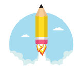 Pencil rocket. Flying in the sky. Vector illustration Royalty Free Stock Image