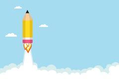 Pencil rocket. Flying in the sky. Vector illustration royalty free illustration