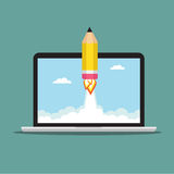 Pencil rocket on the laptop. Pencil Rocket fly out the laptop. Vector illustration Royalty Free Stock Photos