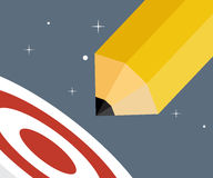 Pencil Rocket Lunch in Space Go To Target Creative Startup Concept. Vector Illustration Royalty Free Stock Images