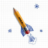 Pencil rocket. Stock illustration. Stock Photos