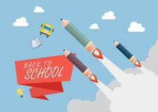Pencil rockets fly into the sky. Back to school concept Royalty Free Stock Images