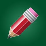 A pencil with rubber. Illustration of red pencil with pink rubber Royalty Free Stock Photos