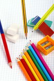 Pencil, rubbers and colors to crayon Royalty Free Stock Image