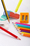 Pencil, rubbers and colors to crayon Royalty Free Stock Photography