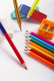 Pencil, rubbers and colors to crayon Stock Photos