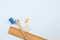 Pencil and rule Royalty Free Stock Photo