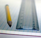 Pencil and Ruler. Pencil ruler Stock Photos