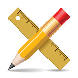 Pencil, Ruler. Royalty Free Stock Images