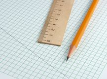 Pencil and ruler Royalty Free Stock Photos